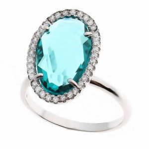 925 Sterling Silver women's ring with cubic zirconia and tourmaline quartz