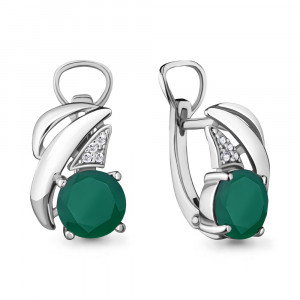 925 Sterling Silver pair earrings with cubic zirconia and green agate