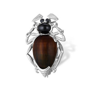 925 Sterling Silver brooches with cubic zirconia and onyx