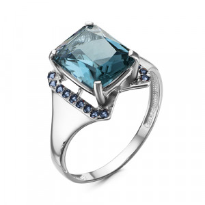925 Sterling Silver women's rings with london topaz