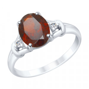 925 Sterling Silver women's rings with garnet and cubic zirconia