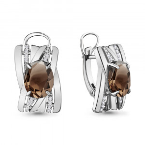 925 Sterling Silver pair earrings with rauchtopaz and