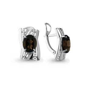 925 Sterling Silver pair earrings with  and quartz