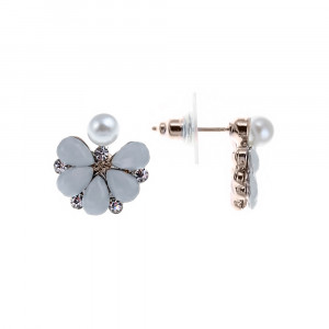 Bijuterii Alloy pair earrings with pearl imit. and crystal