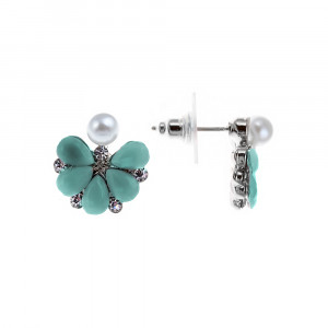 Bijuterii Alloy pair earrings with crystal and pearl imit.