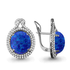 925 Sterling Silver pair earrings with cubic zirconia and synthetic blue opal