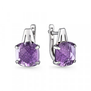 925 Sterling Silver pair earrings with cubic zircon and cubic zirconia