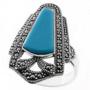 925 Sterling Silver women's ring with turquoise and marcasite