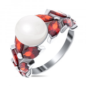 925 Sterling Silver women's rings with pearl and garnet