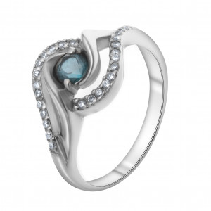 925 Sterling Silver women's ring with london topaz and cubic zirconia