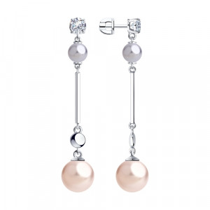 925 Sterling Silver pair earrings with cubic zirconia swarovski and pearl