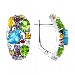 925 Sterling Silver pair earrings with chrysolite and topaz