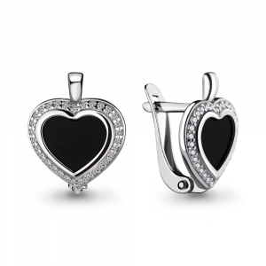 925 Sterling Silver pair earrings with cubic zirconia and glass