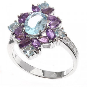 925 Sterling Silver women's ring with amethyst and mix
