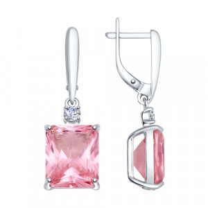 925 Sterling Silver pair earrings with rhodolite gt and sitall