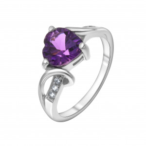 925 Sterling Silver women's rings with cubic zirconia and amethyst gt
