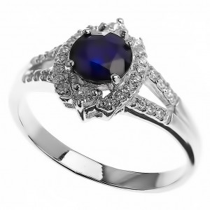 925 Sterling Silver women's ring with sapphire