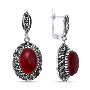 925 Sterling Silver pair earrings with synthetic carnelian and marcasite