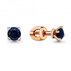 925 Sterling Silver pair earrings with nano sapphire and sapphire gt