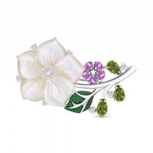 925 Sterling Silver brooches with chrysolite and amethyst
