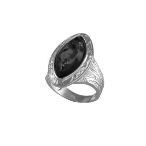 925 Sterling Silver women's ring with malachite