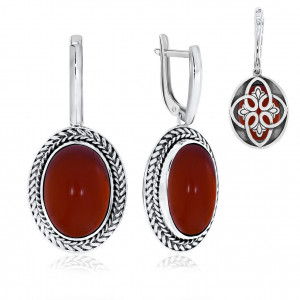 925 Sterling Silver pair earrings with red agate