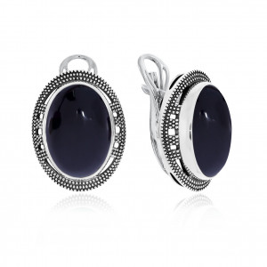 925 Sterling Silver pair earrings with black agate