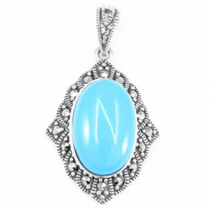 925 Sterling Silver pendants with marcasite and synthetic turquoise