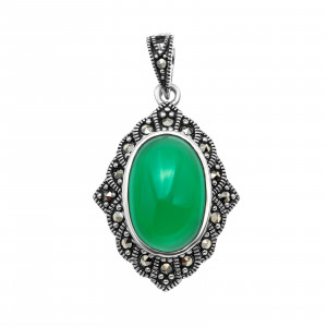 925 Sterling Silver pendants with green agate and marcasite