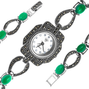 925 Sterling Silver hand watches with green agate
