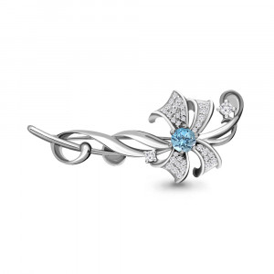 925 Sterling Silver brooches with topaz and cubic zirconia