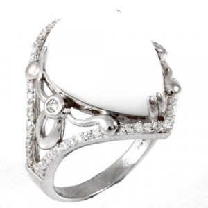 925 Sterling Silver women's ring with cubic zirconia and onyx