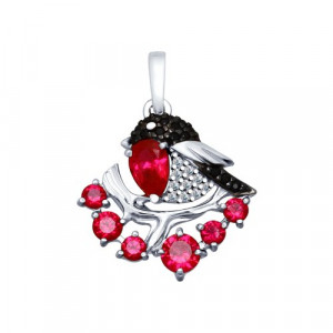 925 Sterling Silver pendants with corundum and synthetic corundum