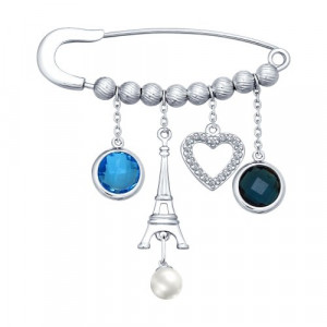 925 Sterling Silver brooches with pearl imit. and pearl