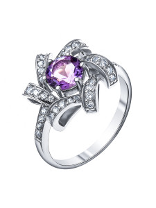 925 Sterling Silver women's ring with cubic zirconia and amethyst