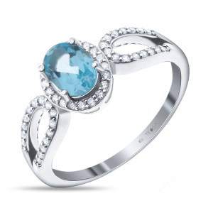 925 Sterling Silver women's rings with topaz and cubic zirconia