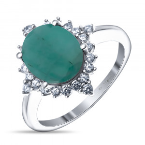 925 Sterling Silver women's rings with cubic zirconia and emerald