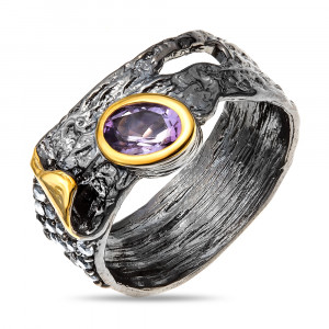 925 Sterling Silver women's rings with white topaz and amethyst