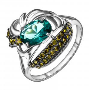 925 Sterling Silver women's rings with paraiba and
