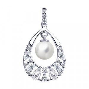 925 Sterling Silver pendants with pearl imit. and pearl