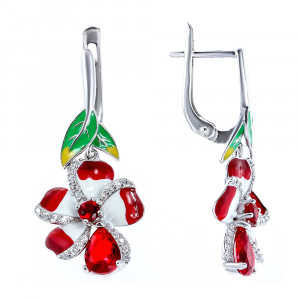 925 Sterling Silver pair earrings with cubic zirconia and alpana