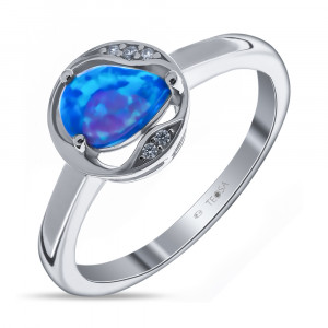 925 Sterling Silver women's rings with synthetic blue opal
