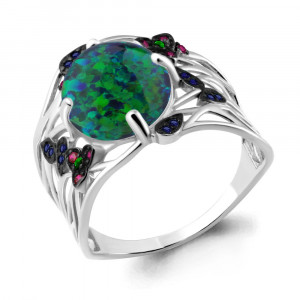 925 Sterling Silver women's rings with opal and nano emerald