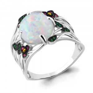 925 Sterling Silver women's rings with synthetic white opal and white opal