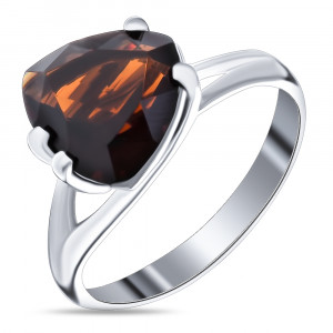925 Sterling Silver women's ring with rauchtopaz and amethyst