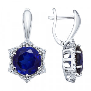 925 Sterling Silver pair earrings with synthetic sapphire and sapphire