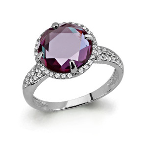 925 Sterling Silver women's rings with cubic zirconia and alexandrite