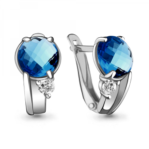 925 Sterling Silver pair earrings with nano london topaz