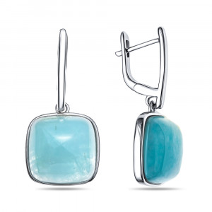 925 Sterling Silver pair earrings with aquamarine
