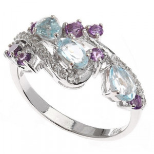 925 Sterling Silver women's rings with mix and topaz